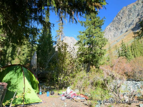 Our Campsite For The Night (3000 meters) hike from karakol to ala-kol and altyn arashan